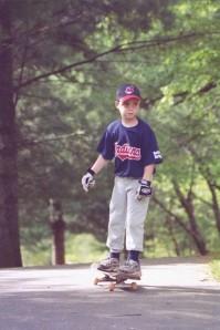 skateboard and baseball chase