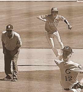 baseball chase running sepia