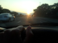 driving into sunset