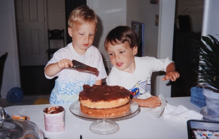 First Cake Decorating (for Austin's Birthday)