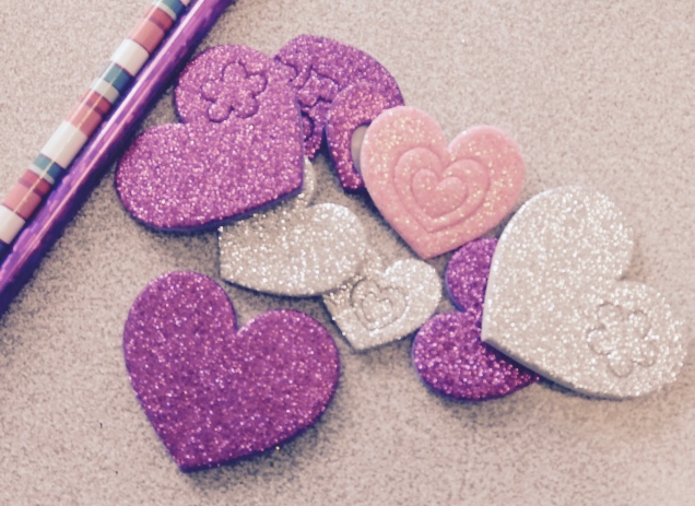 Glitter and hearts