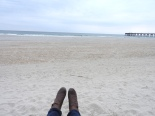 boots at the beach (it was super cold)